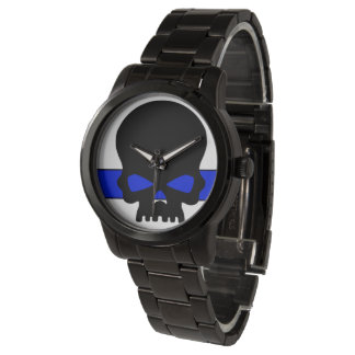 UNISEX Blue Line Skull Dial Watch