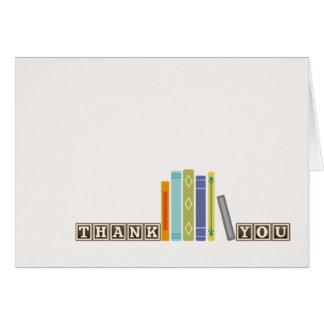 Unisex Book-Themed Thank You Card (Blank Inside)
