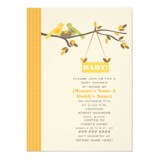 Unisex Fall Baby Shower Mommy & Daddy Birds & Nest 14 Cm X 19 Cm Invitation Card