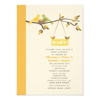 Unisex Fall Baby Shower Mommy & Daddy Birds & Nest Custom Invites