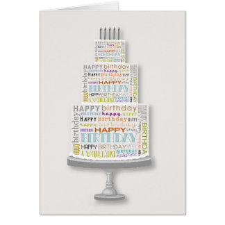 Unisex Happy Birthday Typography Cake Card