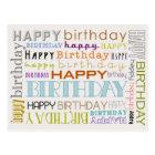 Unisex Happy Birthday Typography Postcard