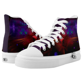 Unisex High Top Shoes - Abstract Red Peacock Image