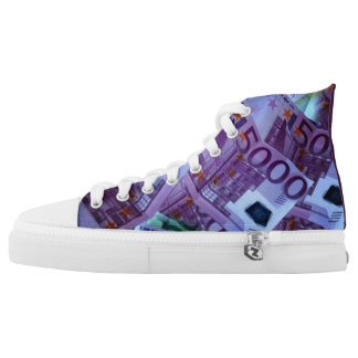Unisex High Top Shoes with Fake 5000 Euro Banknote Printed Shoes