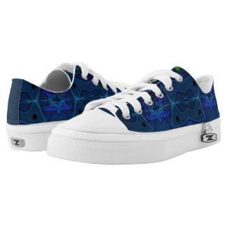 Unisex Low Top Shoes w. Green and Blue Digital Art