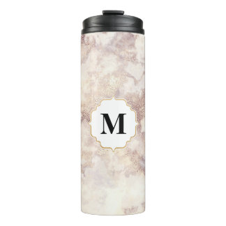 Unisex Marble and faux gold monogram Thermal Tumbler