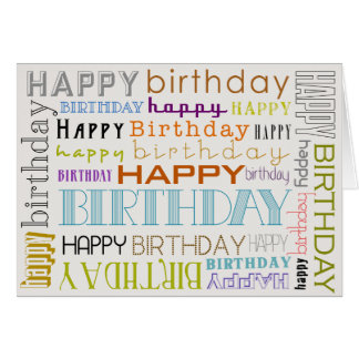 Unisex Multicolor Happy Birthday Text Bday Card