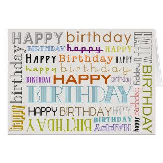 Unisex Multicolor Happy Birthday Text Bday Card