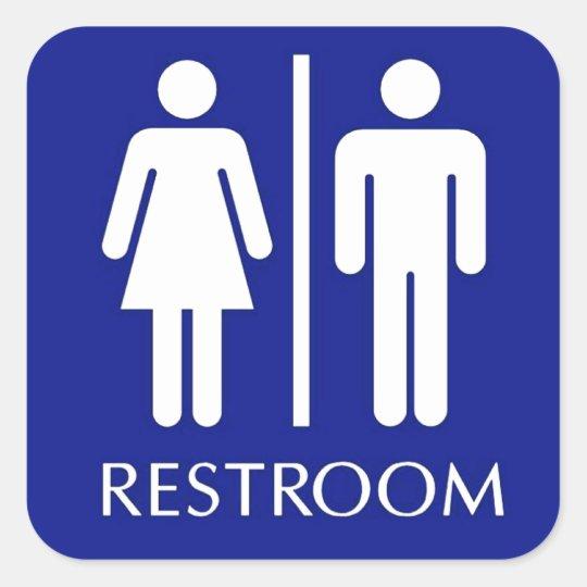 Unisex restroom sign square sticker