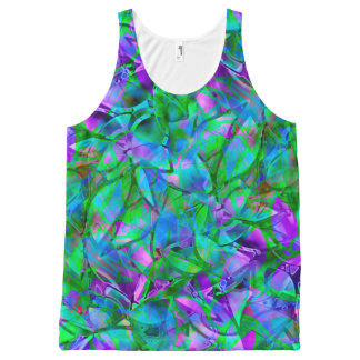 Unisex Tank Floral Abstract Stained Glass
