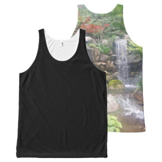 Unisex Tank Shirt Custom Waterfall Japanese Garden