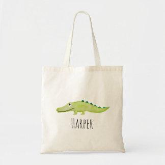 Unisex Watercolor Baby Crocodile Safari and Name Tote Bag