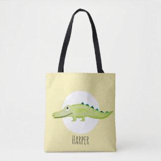 Unisex Watercolor Baby Crocodile Safari with Name Tote Bag