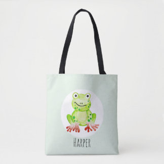 Unisex Watercolor Baby Frog Jungle with Name Tote Bag