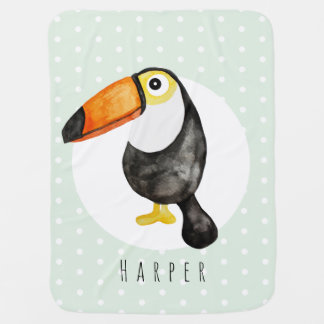 Unisex Watercolor Jungle Toucan Bird Dots Name Baby Blanket