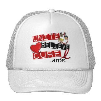 UNITE BELIEVE CURE AIDS HIV TRUCKER HAT