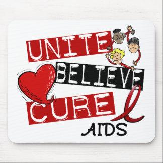 UNITE BELIEVE CURE AIDS HIV MOUSE MAT