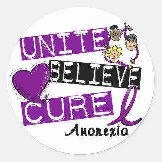 UNITE BELIEVE CURE ANOREXIA CLASSIC ROUND STICKER