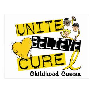 UNITE BELIEVE CURE Childhood Cancer Postcard