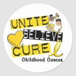 UNITE BELIEVE CURE Childhood Cancer Round Stickers