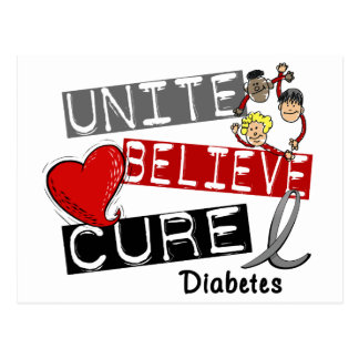 UNITE BELIEVE CURE Diabetes Postcard
