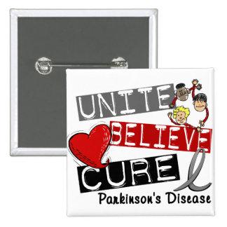 UNITE BELIEVE CURE Parkinson's Disease 15 Cm Square Badge