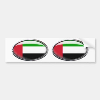 United Arab Emirates Flag Glass Oval Bumper Sticker