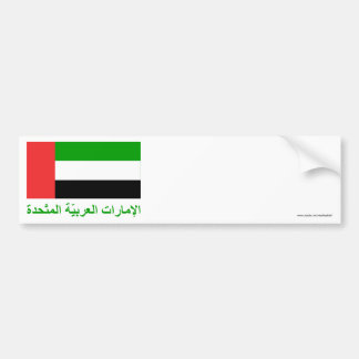 United Arab Emirates Flag with Name in Arabic Bumper Sticker