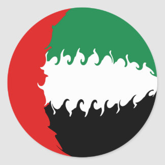 United Arab Emirates Gnarly Flag Round Sticker
