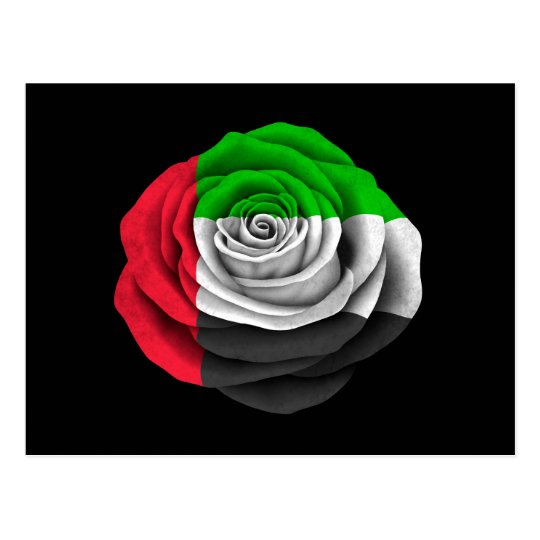 United Arab Emirates Rose Flag on Black Postcard