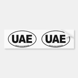 United Arab Emirates UAE Oval ID Code Initials Bumper Sticker