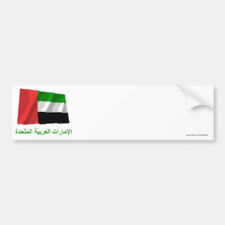 United Arab Emirates Waving Flag w Name in Arabic Bumper Sticker