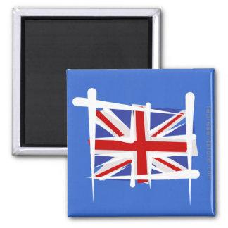 United Kingdom Brush Flag Square Magnet