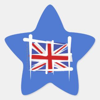 United Kingdom Brush Flag Star Sticker