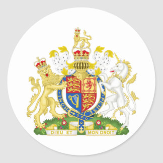 United Kingdom Coat of arms GB Classic Round Sticker