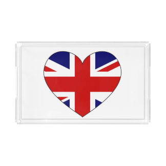 United Kingdom Flag Heart Acrylic Tray