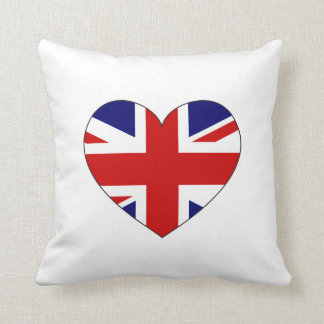 United Kingdom Flag Heart Throw Pillow