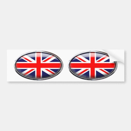 United Kingdom Flag in Glass Oval Bumper Sticker