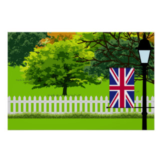 United Kingdom Flag, Landscape of Park Poster