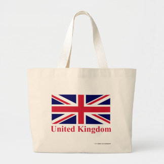 United Kingdom Flag with Name Large Tote Bag