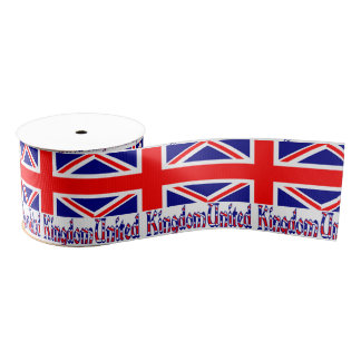 United Kingdom Flg and Word Vinque Grosgrain Ribbon