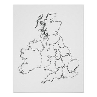 United Kingdom Outline Poster