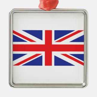 United Kingdom /Union Jack Flag Silver-Colored Square Decoration