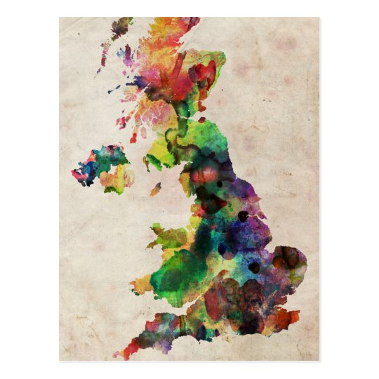 United Kingdom Watercolor Map Postcard