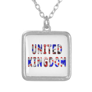 United Kingdom Word Square Pendant Necklace