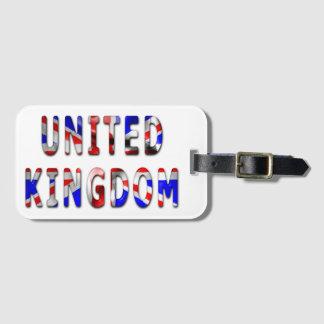 United Kingdom Word With Flag Texture Luggage Tag