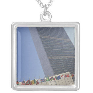 United Nations building Silver Plated Necklace