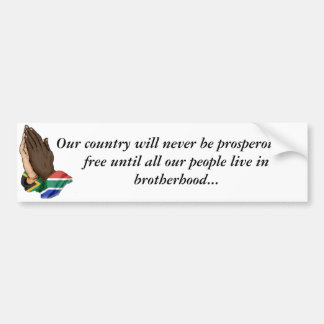 United prayer hands SA, Our country will never ... Bumper Sticker