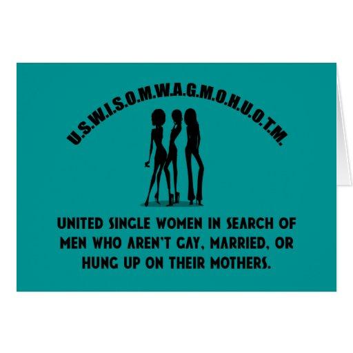 United Single Women - Singles Funny Shirt Cards