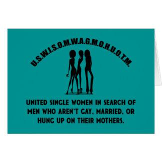 United Single Women - Singles Funny Shirt Greeting Card